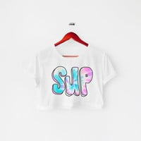 SUP tie-dry printed Midriff Cropped Blouse. Street-Style Fashion - teenage - crop - Teen Girl - Casual wear