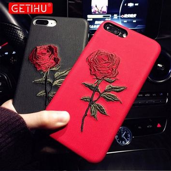 Embroidery Rose Case For iPhone