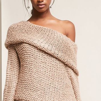 Open-Knit Off-the-Shoulder Top