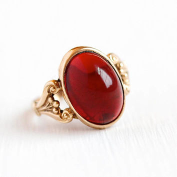 Antique Edwardian Ring - Rosy Yellow Gold Filled Simulated Garnet Cabochon - 1910s Vintage Size 5 Oval Dark Red Glass Stone GF Jewelry