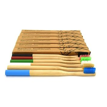 7 Colors 1PC Bamboo Toothbrush Natural Bamboo rainbow Eco Friendly Soft Bristle Wooden Handle Tooth brush Travel Oral Care