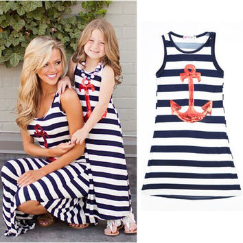 beach dress family matching outfits mother and daughter mom me striped anchor girl