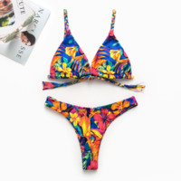Spring and summer new swimsuit sexy fashion print two-piece beach female