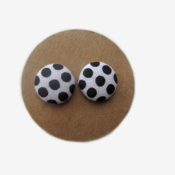 Black and White Polka Dot Button Earrings // Black and White // Monochrome // Classic Black White // Black White Theme // Black Polka Dots /