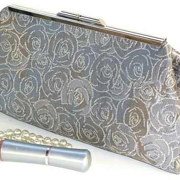 Framed Clutch Purse in Silver Gray Floral Rose Jacquard