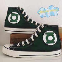 Green Lantern Hand Painted Custom Shoes