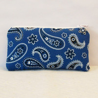 "Light Blue Paisley Bandana Print Cotton Padded Pipe Pouch 5.5"" / Glass Pipe Case / Spoon Cozy / Piece Protector / Pipe Bag / SMALL"