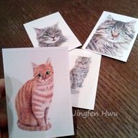 set of 4 ACEO prints~cat drawings, cat art print, cat lover gift, small wall art, room decor