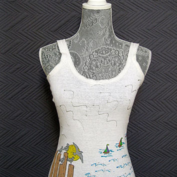 Woman Tank Top Hand Painted - Ocean Scene Seagulls Sailboats - White All Cotton Size Large, Snug Fit, Beach, Gym Everyday Wear