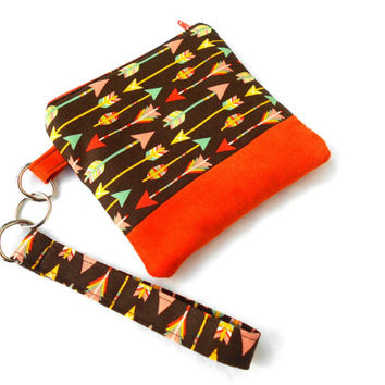 Earth Tone Arrows Wristlet Clutch - Brown Orange Arrow Zipper Pouch