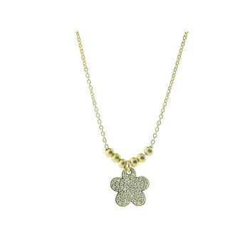 """Sparkling Pave Cz Daisy Flower Pendant Necklace in Gold Plated Sterling Silver, 16"""" + 2"""" Extender"""