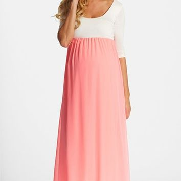 Women's PinkBlush Colorblock Maternity Maxi Dress,