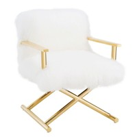 Jodi White Sheepskin Gold Chair