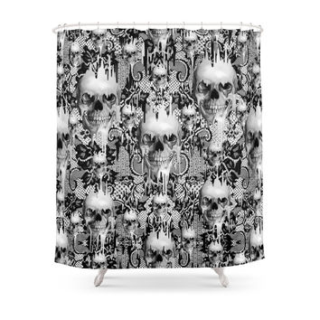 Society6 Victorian Gothic Lace Skull Pattern Shower Curtains