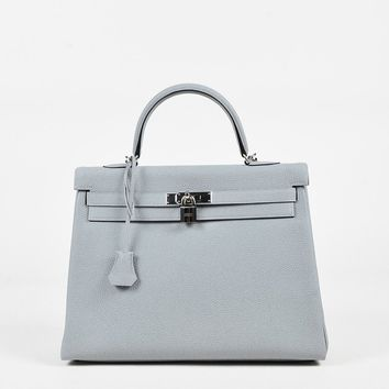 "Hermes ""Bleu Glacier"" Blue Togo Leather ""Kelly Retourne"" 35 cm Satchel Bag"