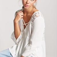 Lace-Panel Trumpet-Sleeve Top