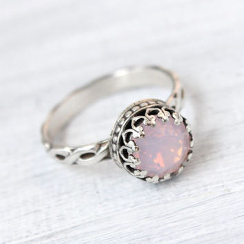Silver ring with 8 mm Swarovski Rosewater Opal crystal, sterling silver, vintage style, floral band, crown setting, antique finish, handmade