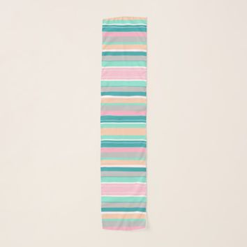 Stylish Pastel Stripes Chiffon Scarf