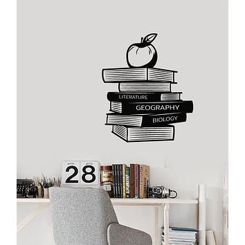 Vinyl Wall Decal Library Geography Literature Biology Books Apple Stickers Mural (g1830)