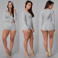 Long Sleeve Women's Fashion High Waist Zippers Romper = 5861599169