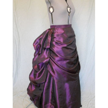 Purple Satin Long Victorian Bustle Skirt
