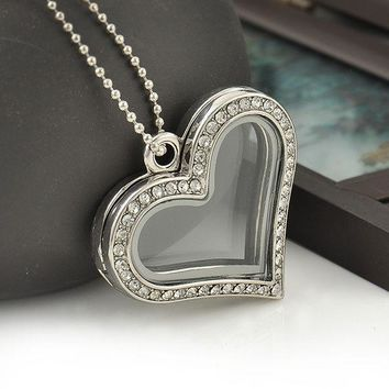 CREYET7 Fashion Heart Magnetic Glass Floating Locket Memory Necklaces & Pendants Charm Chain Necklace Jewelry Accessories Free Shipping