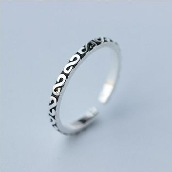 925 Thai Silver Rings for Women Adjustable Letter Ring