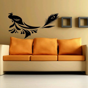 Wall Art Vinyl Sticker Decal Mural Decor Peacock Bird Peafowl Phoenix Feathers 1047