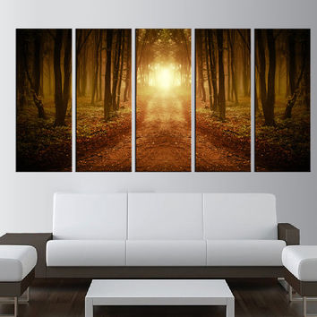 forest canvas art print, trees canvas wall art, sunset Large wall Art, large canvas print, extra large wall art, old world map wall art  t15