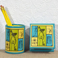 Vintage Desk Organizer- Cute Desk Set with Pencil Cup, Notepad Cover, and Pencils by Stylecraft-NOS Mid Century Office Supplies