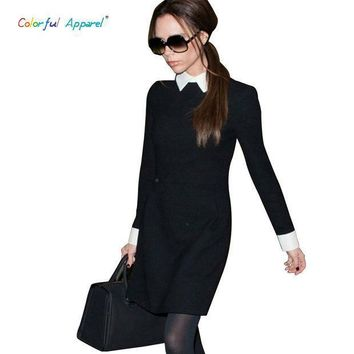 [c 377] 2013 Fashion Star Style Victoria Beckham Dress Slim Elegant Turn Down Collar Long Sleeve Black Dresses For Women