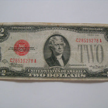 Nice Old American Currency Series of 1928 D 2 Dollar Bill Red Seal CA Block US Paper Money For Sale for Your Banknote Collection Good Gift