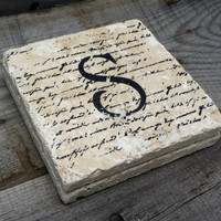 Hand Stamped Monogrammed Stone Tile Coasters Set of 4, Personalized Coasters, Rustic Table Decor, Rustic Wedding Favor, Beverage Coaster