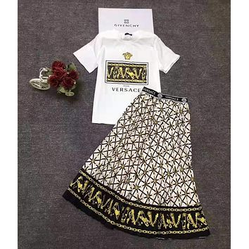 """""""Versace"""" Woman's Leisure Fashion Personality Letter  Printing Spell Color Short Sleeve Tops Long Skirt Two-Piece Set Casual Wear"""
