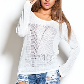 V-Mix Stud Long Sleeve Top
