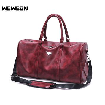 High Quality Men Leather Travel Duffle Gym Bag Sports Cossbody Men Bag Durable PU Leather Gym Bag Training Duffle for Fitness
