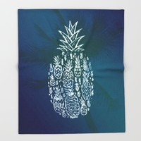 Pineapple Fields Forever Throw Blanket by Ocean Ave // Lettering And Design
