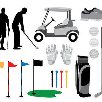 Golf Clip Art Images, golf cart, clubs, bag, silhouettes, gloves, shoes, flags and tees, use for scrapbooking, crafts, design projects, diy
