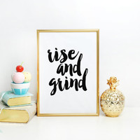 Bedroom Decor,Dorm Room Decor,Rise And Shine,Motivational Poster,Inspirational Quote,Wall Art,Watercolor Typography,Quote Art,Rise And Grind