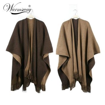 Over Sized Reversible Reversed Women Winter Knitted Cashmere Poncho Capes Shawl Cardigans Sweater Coat