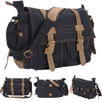 Men's Vintage Canvas Leather School Military Shoulder Messenger Bag Black