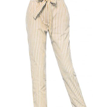 LE3NO Womens Striped Cotton Linen Ankle Length Belted Pants with Pockets
