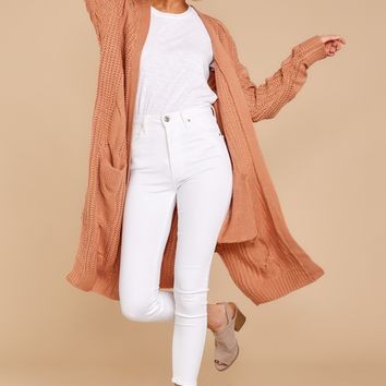 Out Do It Apricot Knit Cardigan