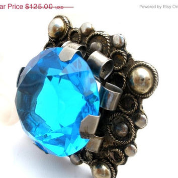 36% Off Sale Brooch Pendant, Sterling Silver, Huge Blue Stone, Handmade Antique, Art Deco Pin, For Necklace, Turquoise, The Jewelry Lady's S