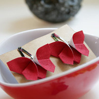 Red Butterfly Origami Hair Clips