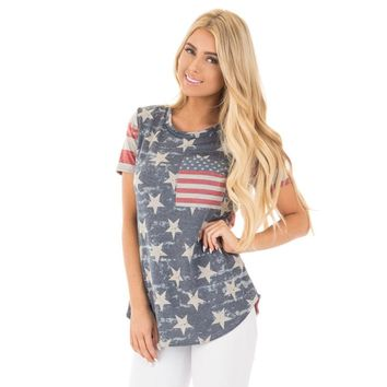 2017 Summer Women t shirt American Independence Day American flag digital print Bow vest T shirts Thick Cotton t-shirt Hot sale