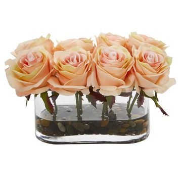 Artificial Flowers -5.5 Inch Blooming White Roses In Glass Vase Silk Flowers
