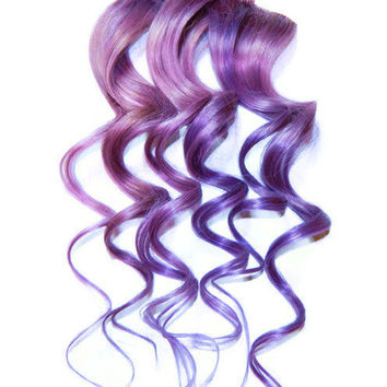 Lilac Lavender Pastel Purple Human Hair Extensions, Clip In Human Hair Extensions