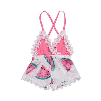 2018 Summer Newborn Toddler Baby Girl Lace Water Melon Romper Jumpsuit Christening Strap Cute Summer Clothes Outfit