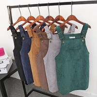 Women Vintage Sleeveless Casual Sleeveless High Quality Brief Overall Mini Suspender Dress Strap Summer Autumn